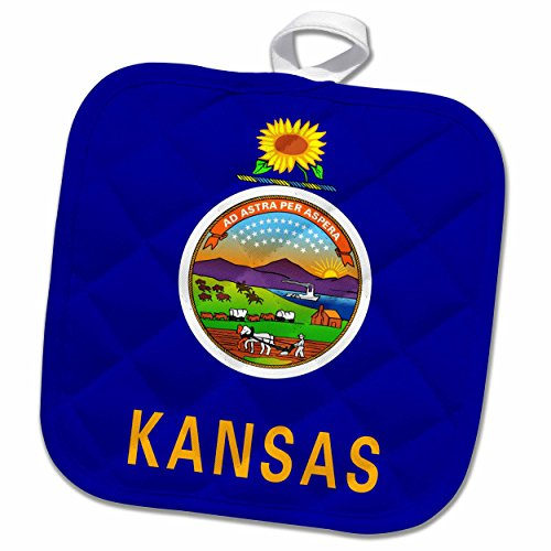 3dRose InspirationzStore Flags - Flag of Kansas - US American state - United States of America USA - dark blue seal sunflower - 8x8 Potholder (phl_158346_1)