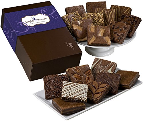 Fairytale Brownies Brownie Eighteen Gourmet Food Gift Basket Chocolate Box - 3 Inch Square Full-Size Brownies - 18 Pieces