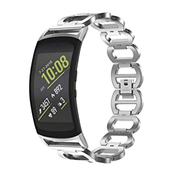 Bandages accessoires compatible Samsung Gear fit 2/Gear fit 2 Pro, acier inoxydable bracelet