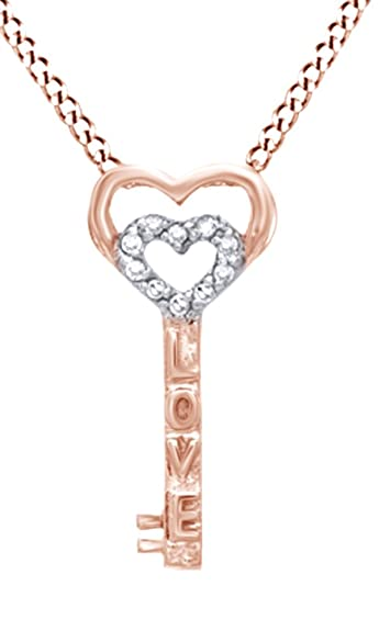 6066d8491470a Jewel Zone US Natural Diamond Accent Heart-Top Love Key Pendant in 10K Rose  Gold