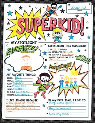 Renewing Minds Superheroes Superkid! Fill-in Poster Set, 17 x 22 inches, Black and White, Pack of 30 -