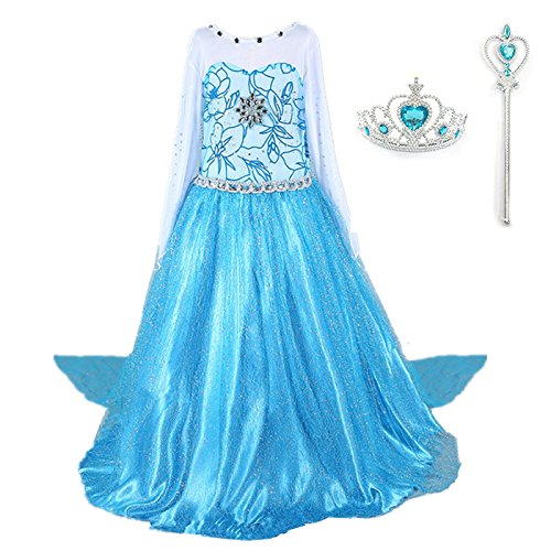 DreamHigh Girls Princess Elsa Costume Dress with Crown Wand Size 3-10 Years