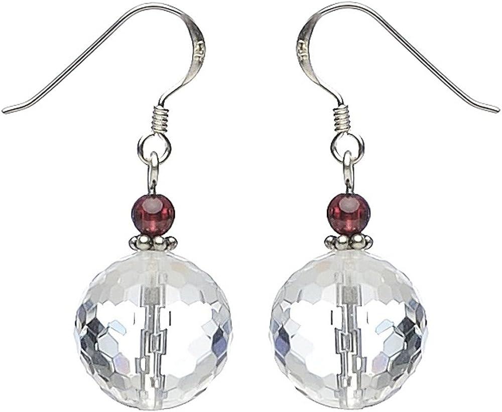 Pendientes de cristal de roca & 925 pendientes de plata Reloj para mujer