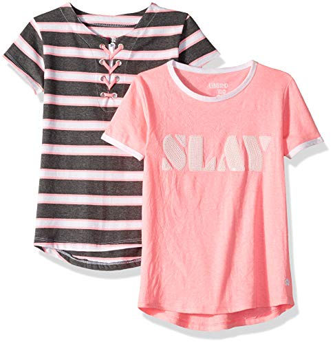 Top Too Limited Shirt - Limited Too Girls' Big 2 Pack Sequins and Tie Stripe Top, neon Pink/Multi Color, 7/8