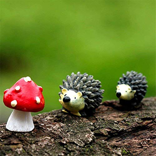 Danmu Resin Mini Hedgehogs and Mushroom Miniature House Fairy Garden Micro Landscape Home Garden Decoration Plant Pots Bonsai Craft Decor]()
