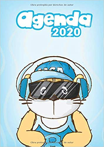 Agenda 2020: Tema Gatos Azul Agenda Mensual y Semanal + ...