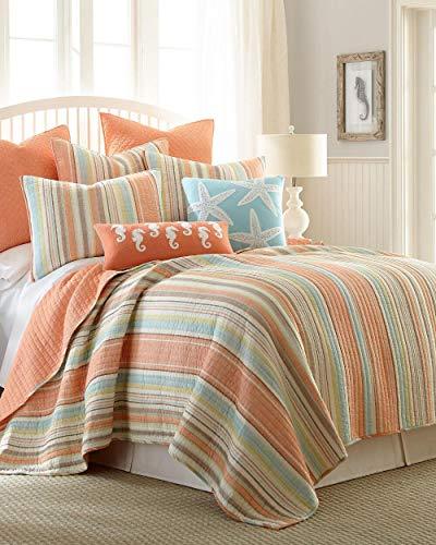 Coastal Beachhouse Leighton Stripe 5pc Full/Queen Quilt Set (Quilt, 2 Pillow Shams & 2 Decorative Pillows)