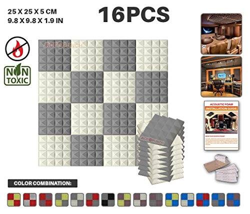 Acepunch 16 Pack GRAY AND PEARL WHITE Color Combination Pyramid Acoustic Foam Panel DIY Design Studio Soundproofing Wall Tiles Sound Insulation with Free Mounting Tabs 9.8