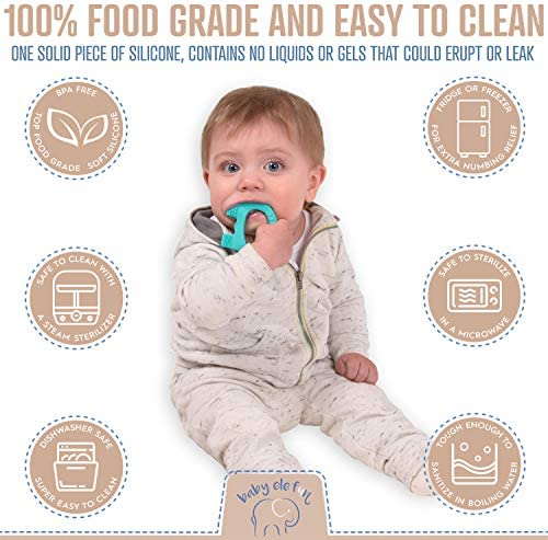 51ImEQTlBZL. AC - Baby Teething Toys - BPA Free Silicone Toy - Cute, Easy To Hold, Soft And Highly Effective Elephant Teether - Unique Teethers Best For 0-6 6-12 Months Boy Or Girl Christmas Gifts Stocking Stuffers