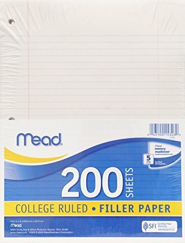 Mead #15326 200CT White Filler Paper ,pack of 6