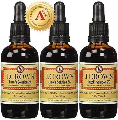 J.CROW'S® Lugol's Solution of Iodine 2% 2 oz Three Pack (3 Bottles) (Solution Iodine Lugols)