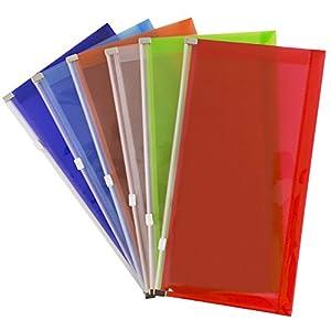 JAM Paper #10 Plastic Wallet Envelopes with Zipper Closure- Booklet - 5 x 10 - Assorted Color - 6/pack