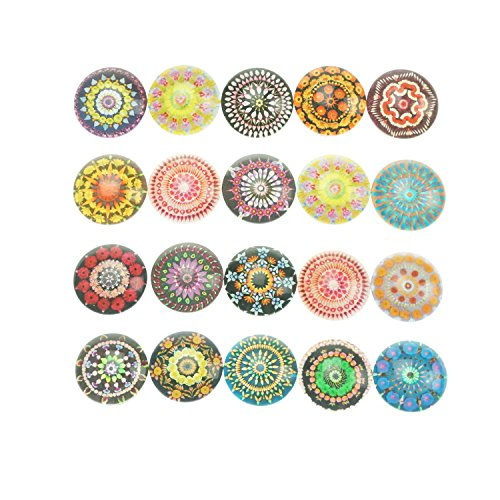 25mm Round Flatback Glass Dome Cabochons Gems for Jewelry Making Handcrafts and Vase Filler 20 Counts by ZXSWEET ( Pop Pattern)