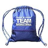 Foldable Basketball Backpack Drawstring Bag Swimming Bag Fitness Bag, Team Blue
