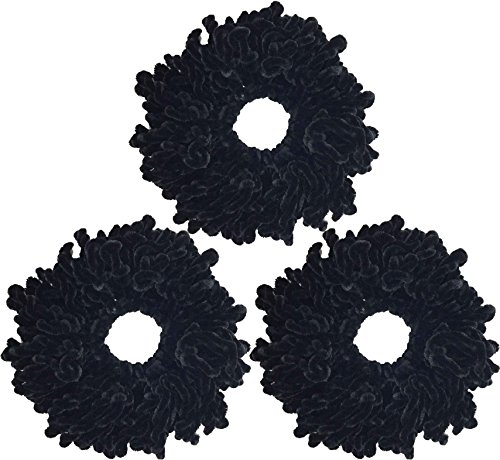 Ababalaya Women's 3pcs Volumising Scrunchie Big Hair Tie Ring Hijab Volumizer Khaleeji Headwear,Black 3pcs by Ababalaya