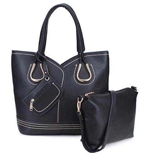 Women Tote Handbag 3 Pieces Set Leather Hobo Shoulder Bag Satchel Purse Black by MKY