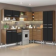 Cozinha Completa de Canto Reto Madesa Emilly417com Armário e Balcão 15 Portas 1 Gaveta