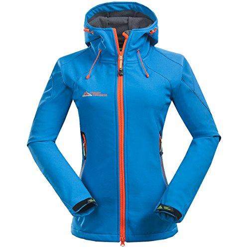 Mount Conquer Damen Softshelljacke Fleecefutter Kapuze Winddicht Wasserdicht Outdoor Camping Wandern Sport Jacke (XX-Large, Blau)