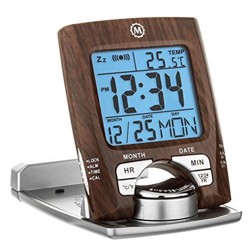 (Marathon CL030023WD Travel Alarm Clock with Calendar & Temperature - Battery Included)