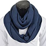 Stylish Men Cable Soft Knit Winter Infinity Scarf (E5081b-Navy)