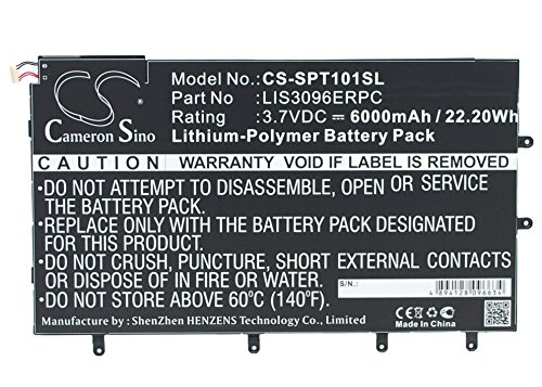 LIS3096ERPC Replacement Battery (6000mAh / 22.20Wh) For SONY SGP321, SO-03E, Xperia Tablet Z, Xperia Tablet Z 10.1