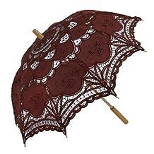 Remedios Battenburg Lace Parasol Umbrella for Bridal Wedding Decoration,Brown