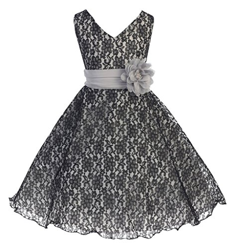 iGirlDress Big Girls Lace Special Occasion Dress Sizes 12, Black/Silver W/Flower -