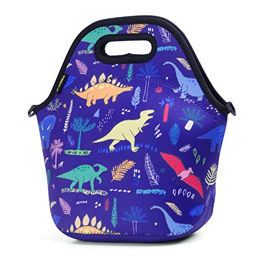- Neoprene Lunch Bag, Navy Dinosaur lunch bags for Women Kids Girls Men Teen Boys, Insulated Waterproof Lunch Tote Box for Work School Travel and Picnic