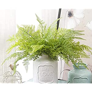 Felice Arts 4 PCS Artificial Boston Shrubs, Plastic Faux Fern Purple Fake Plant Inside Outdoor Decoration for Wedding, Garden, Farmhouse, Home Space, Office or Gifts 18