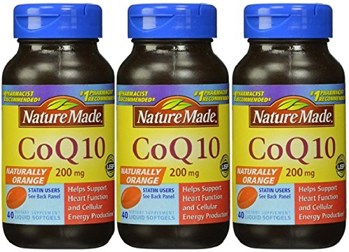 Nature Made CoQ10 200 mg 40 Softgels  Total of 120 Softgels