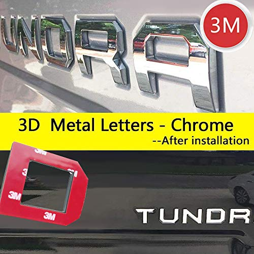 Auto safety 3D Raised Tailgate Letters for Toyota Tundra 2014 2015 2016 2017 2018 2019 Zinc Alloy Emblem Inserts (Chrome)