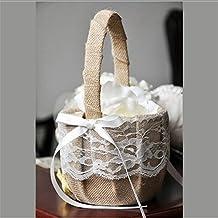 Lingstar Vintage Rustic Wedding Ceremony Ribbon Bowknot Burlap Jute Lace Flower Girl Basket Khaki