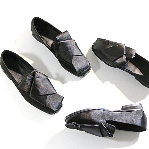 Angrousobiu Fett Fett Fett und einzelne Schuhe weiblichen Flachbild retro Bow Tie flachen Schuh mit einem quadratischen Kopf flache Niedrig - wie Seide Satin Schuhe für Frauen singles 5923e7