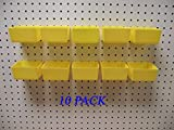 New Plastic YELLOW PEG BOARD BINS 10 PACK Tool Workbench PEGBOARD NOT INCLUDED