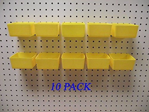 New Plastic YELLOW PEG BOARD BINS 10 PACK Tool Workbench PEGBOARD NOT INCLUDED by Pegboards & Hooks (Image #1)