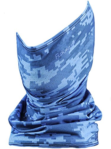 Fishmasks Single Layer Neck Gaiter - Lightweight, Fishing Protection From Sun, Wind And Moisture - Made In USA - UPF 50+ Moisture-Wicking Fabric - Blue Digi Camo