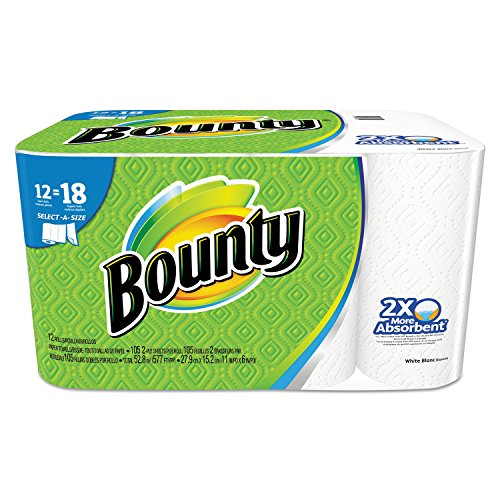 (Bounty 88212 Select-A-Size Perforated Roll Towels, 2-Ply, 105 per Roll, White (Pack of 12))