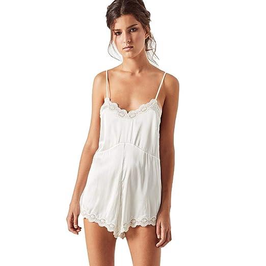 3c8a2e20bfae Women s Spaghetti Strap Sleeveless V Neck Short Lace Jumpsuit Rompers  Playsuit Plus Size Beachwear White