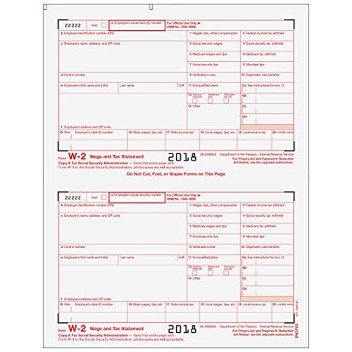 Federal Copy Employee W2 - W-2 Employer Federal Copy A for 50 Employees