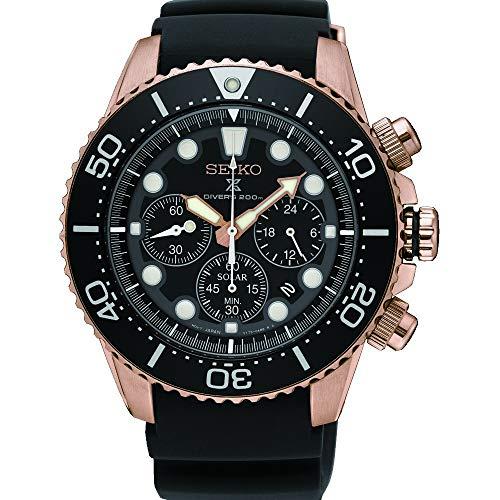 Seiko herr kronograf soldriven klocka med gummiband SSC618P1