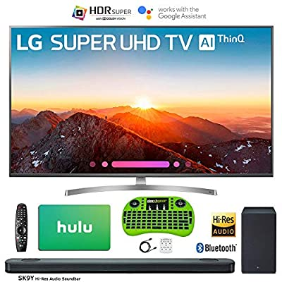 LG 4K HDR Smart LED AI SUPER UHD TV with ThinQ 2018 Model with Hi-Res Audio Soundbar, 1 Year Extended Warranty, Netflix Gift Card, Surge Adapter, HDMI Cable & Backlit Keyboard