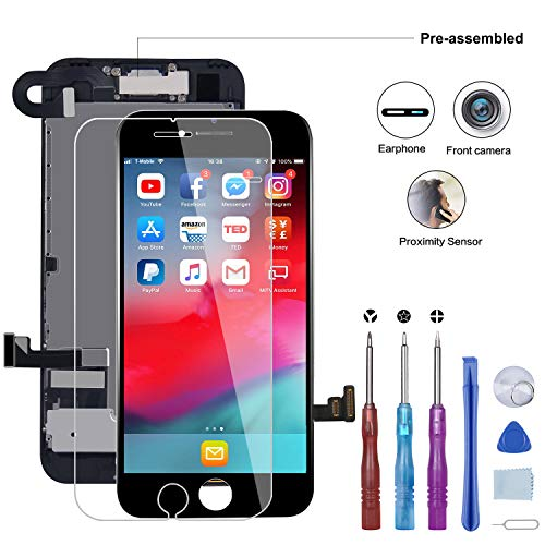 BeeFix Screen Replacement Compatible for iPhone 7 Black 4.7 inch - LCD Display Assembly with Proximity Sensor,Front Facing Camera,Earpiece Speaker and Metal Back Plate Pre Assembled Repair Tools Kit