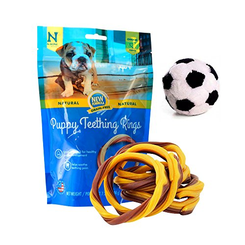 Puppy Teething Rings Starter Kit with Chew Toy, Puppy Chiken Chew Treats for Teething Puppies, Dental Grain Free Chews Treat for Puppies, Puppy Plush Ball Toy with Squeaker (Dental Chew Kit)