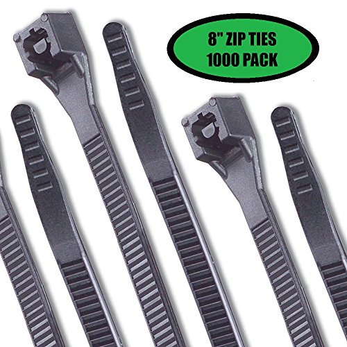 Cable Ties Heavy Duty Zip Ties Indoor Outdoor Cable Management Wraps - 8 inch 75 lb Tensile Strength Black 1000 (Quality Industrial Workbench Accessories)