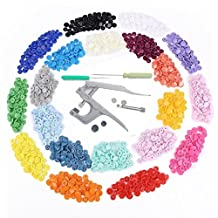 TopRay Snap Pliers Press Studs+ 300sets T5 Snaps Buttons, 20 Colors and Fasteners Installation Puncher Attachment Setting Tool for DIY Crafts