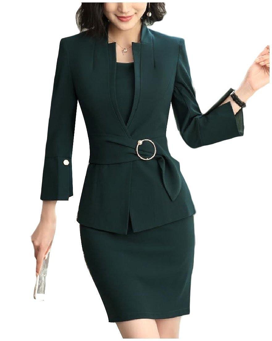 Andopa Women Smocked Waist Stand Collar Thin Blazer and Dress Suit Set