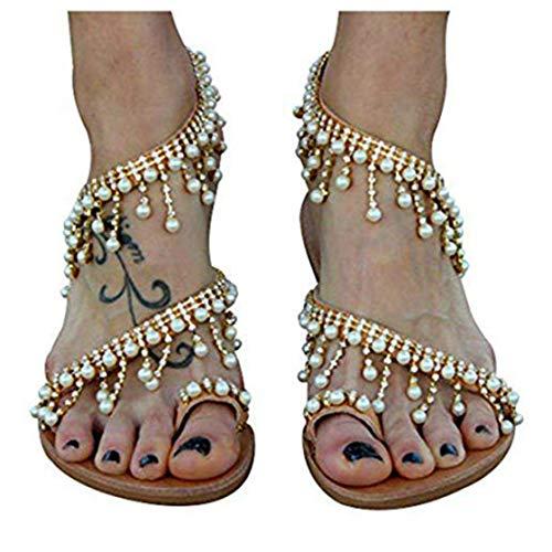(Liyuandian Women Bling Rhinestone Pearl Wedding Dress Thong Flat Sandals (8(M) US, 2-Gold))