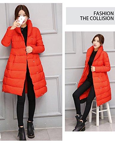 Thick Down Puffer Slim Women's Long Down Coat Belted Jacket Orange Yeokou Winter 0qtaIB