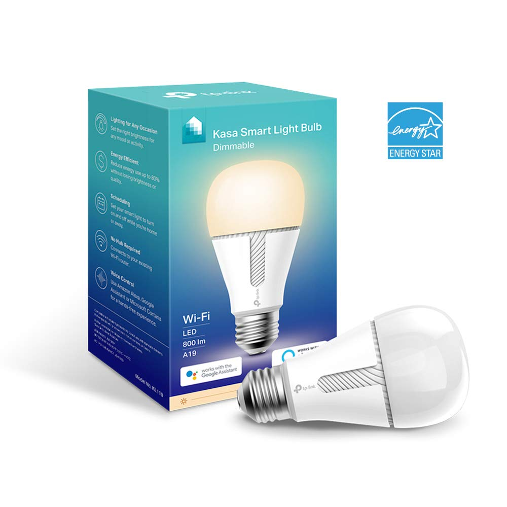 Kasa Smart WiFi Light Bulb, Dimmable by TP-Link - No Hub Required, Works with Alexa & Google (KL110)