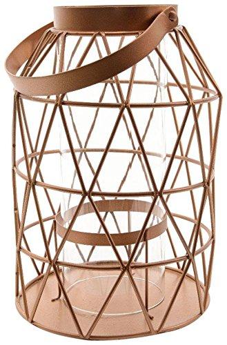 Decoris Handled Iron & Glass Lantern, Copper